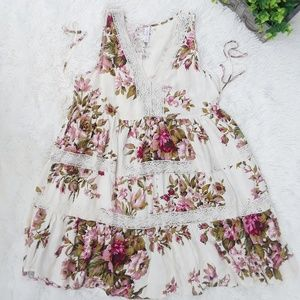 Xhilaration pink floral babydoll dress. Size M